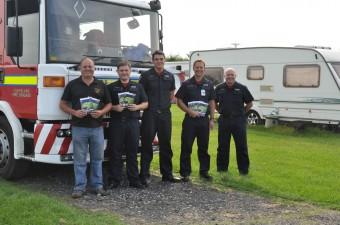 Mark Ashton of Ashfield Caravan Park, Dalton Piercy (extreme left) is pictured with Cleveland firefighters (from l-r) Darren Brookes, Michael Taylor, Watch Manager Andy Robinson and John Piggford.