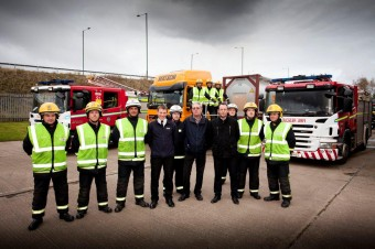 Cleveland Fire Brigade staff pictured with Nick Brown, Managing Director for Bertschi UK Limited and Paul Smithyman, Transport Planning Manager for Bertschi UK Limited