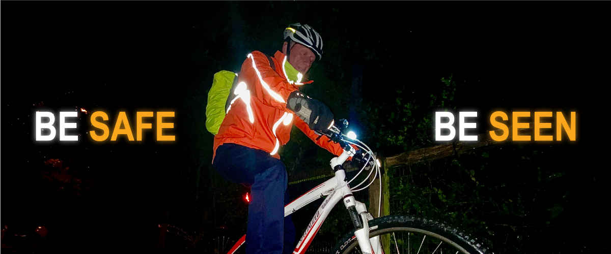 cyclist with reflective hi-vis clothing