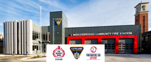 Middlesbrough Community Fire Station with FBU Cleveland logo, CFB logo and Firefighters 100 Lottery logo