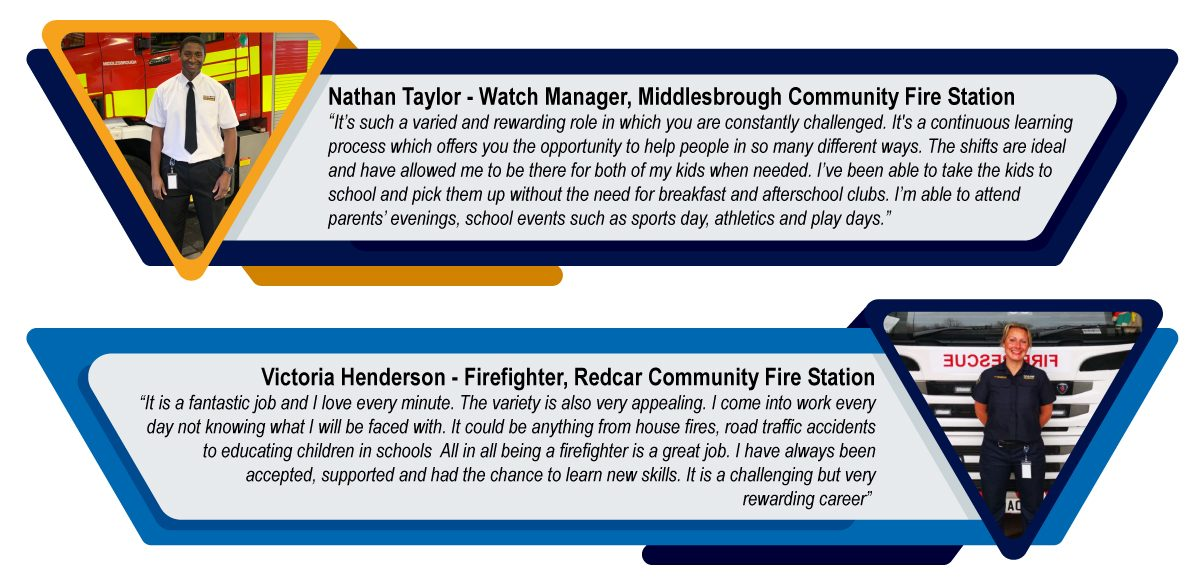 """Firefighter Victoria Henderson, Redcar Community Fire Station """"It is a fantastic job and I love every minute.  The variety is also very appealing. I come into work every day not knowing what I will be faced with. It could be anything from house fires, road traffic accidents to educating children in schools  All in all being a firefighter is a great job. I have always been accepted, supported and had the chance to learn new skills. It is a challenging but very rewarding career""""  Nathan Taylor, Firefighter, Coulby Newham Fire Station  """"It's such a varied and rewarding role in which you are constantly challenged. It's a continuous learning process which offers you the opportunity to help people in so many different ways. The shifts are ideal and have allowed me to be there for both of my kids when needed. I've been able to take the kids to school and pick them up without the need for breakfast and afterschool clubs. I'm able to attend parents' evenings, school events such as sports day, athletics and play days."""""""