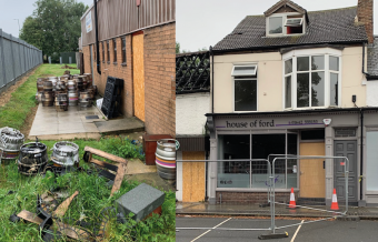 burnt beer kegs and hairdressers shop front showing damage following fire