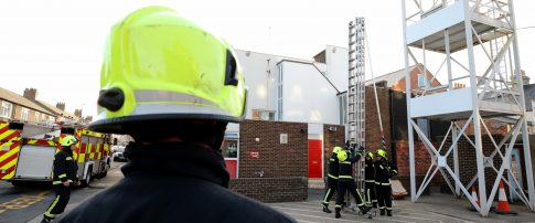 firefighter looking towards fire crew at saltburn station