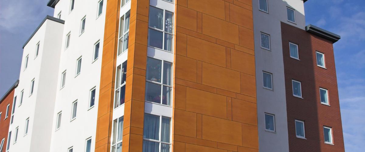 high rise flats close up