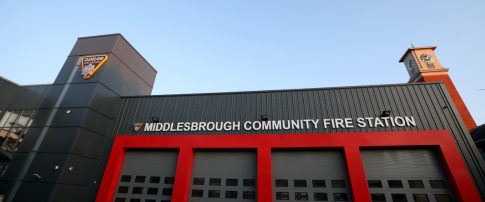 front of middlesbrough community fire station and clock tower