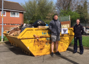 community skip with Cleveland Fire Brigade staff and member of public