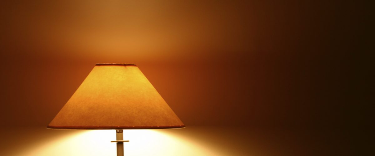 table lamp on